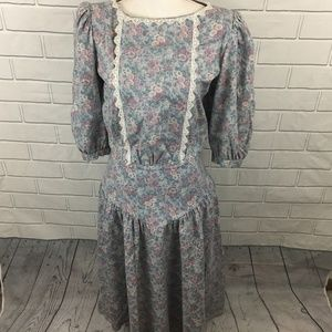 Vtg 80s Floral Dress Large Lace Collar Bib Garden
